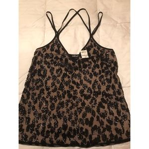 Express leopard print sequence top SMALL